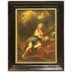 "18th Century Oil on Canvas Sacred Art ""Mary Magdalene"" Painting"