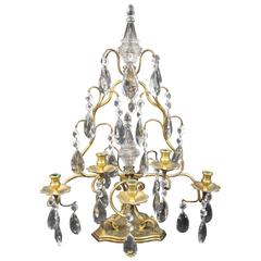 Single Bronze and Cut-Glass Candelabrum