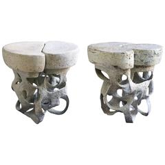Pair of Ceramic Side Table by Agnès Debizet