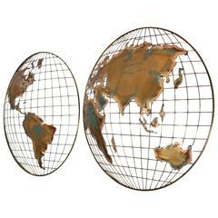 Curtis Jere Modernist World Map/Globe Sculpture
