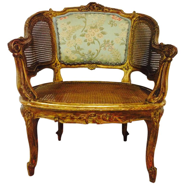 French Cane Chair french 19th century louis xv-style gilt wood cane back chair at