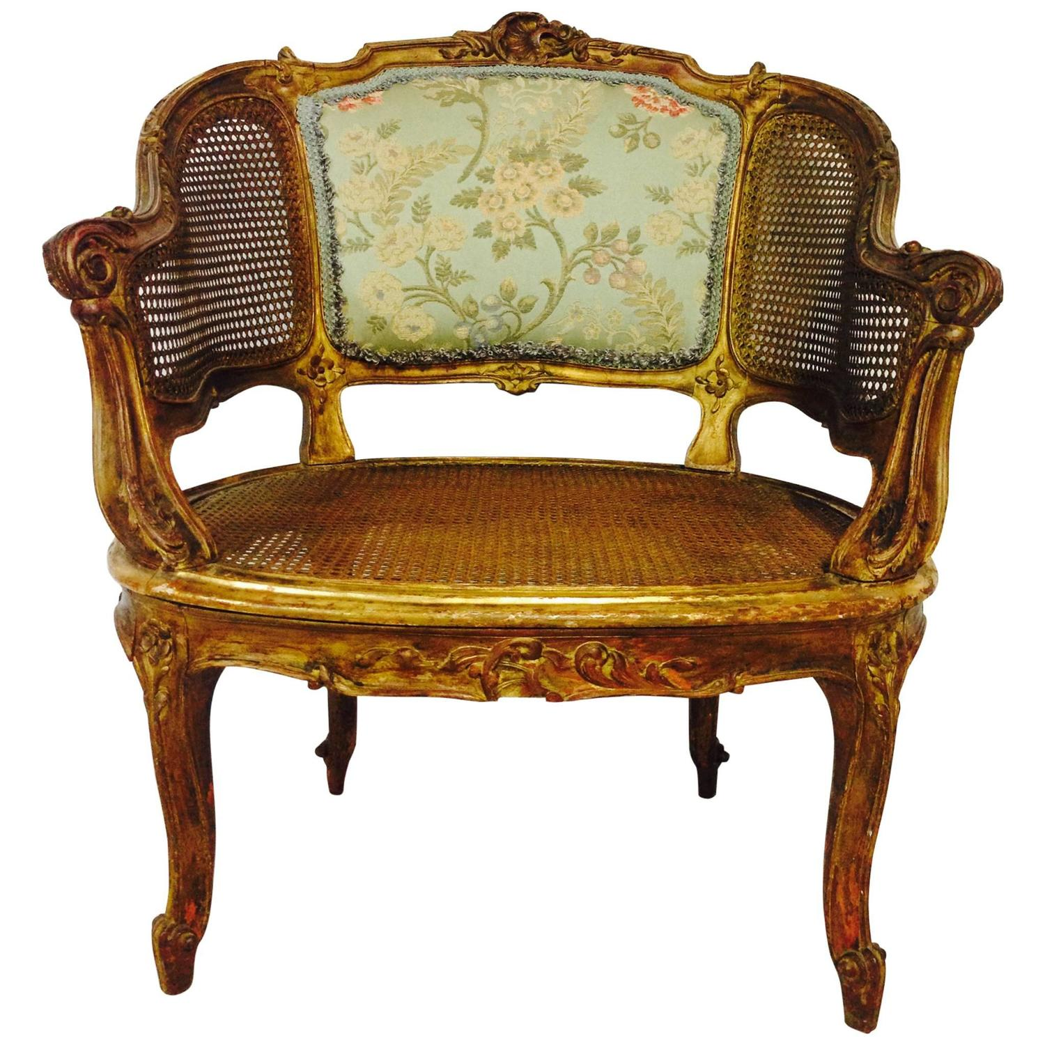 French 19th Century Louis XV Style Gilt wood Cane Back Chair at