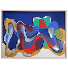 """1976 """"Blueberry Vapour"""" Colorful Abstract Construction"""