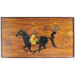 Large Panel with 'Wild West' Cowboy Painted Illustration