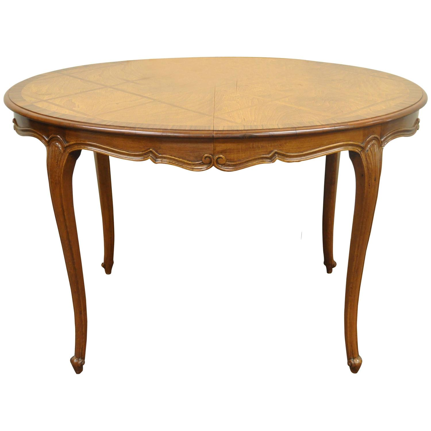 antique country french round whitewashed dining or centre table at petite country french or louis xv style parquetry inlaid custom dining table
