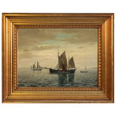 Original Oil on Canvas of Sailboats, Signed Benjamine Olsen