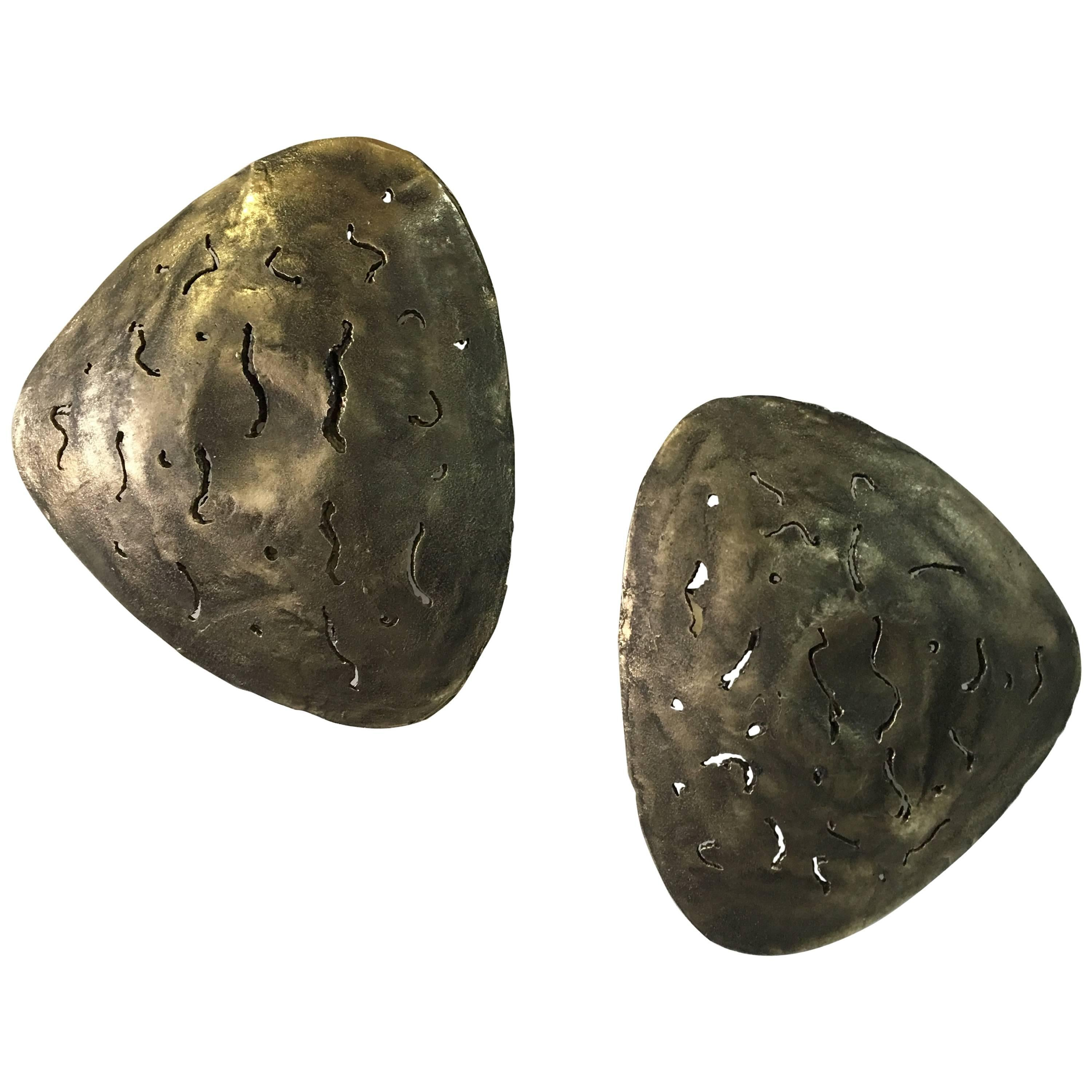 Pair of Brutalist Bronze Shield Wall Sconces