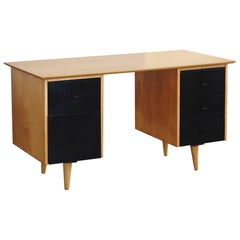 5 Drawer Pedestal Two Tone Black and Maple Desk by Paul McCobb for Planner Group