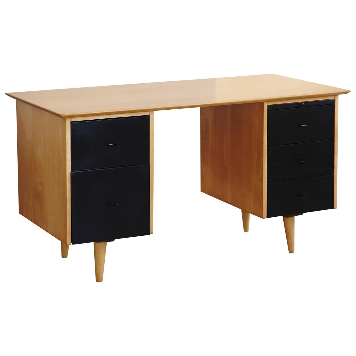 5 Drawer Double Sided Two Tone Black Birch Desk by Paul