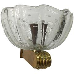 Barovier e Toso Single Murano and Brass Wall Light