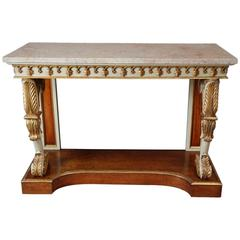 English Regency Gilt and Painted Burr Maple Console Table