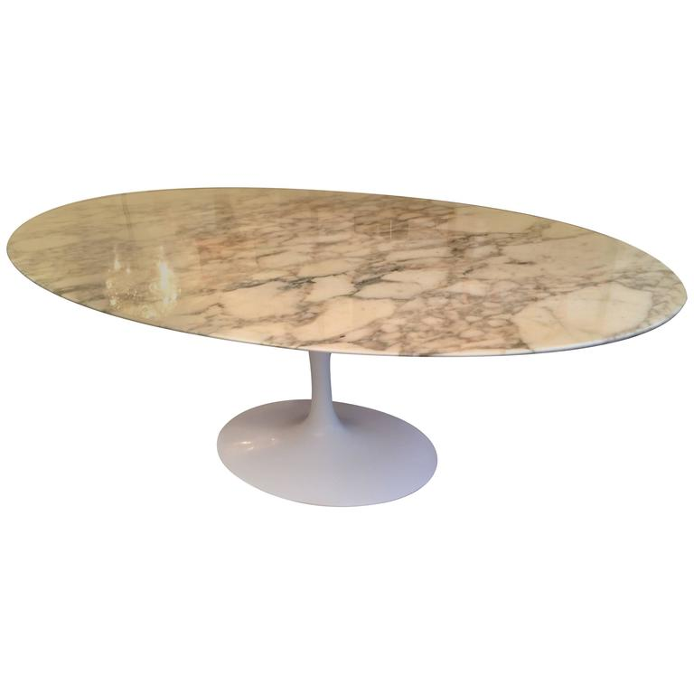 Eero saarinen marble oval dining table 198cm at 1stdibs - Saarinen oval dining table dimensions ...
