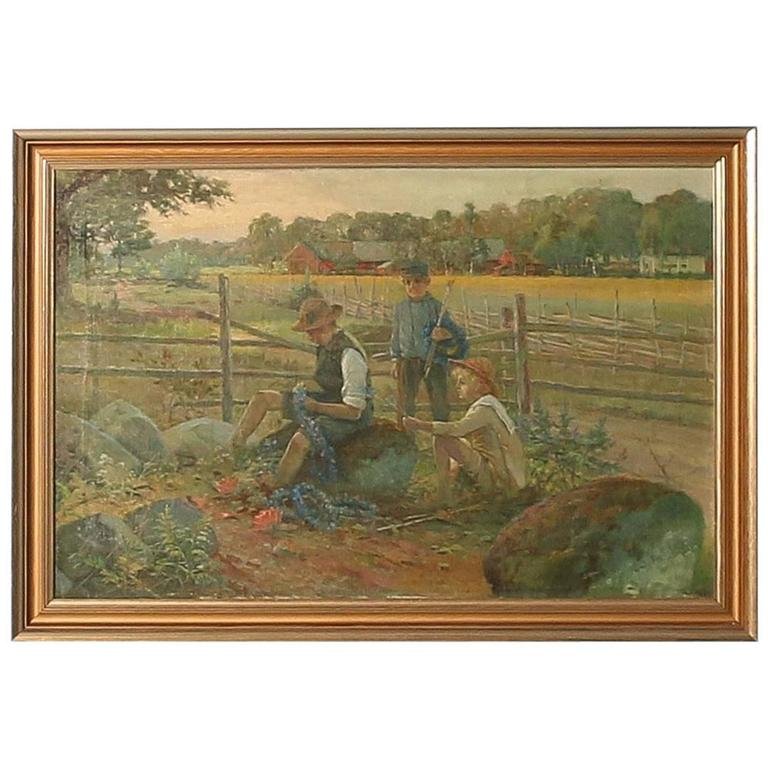 Original Oil on canvas Painting; Children Making Flower Garlands, circa 1920