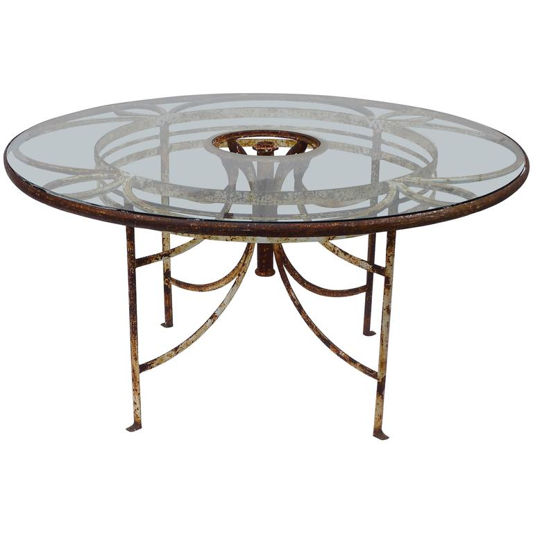 1930s french iron and glass outdoor garden dining table 57