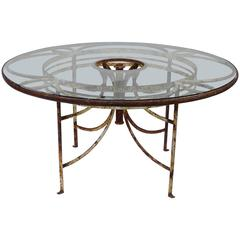 "1930s French Iron and Glass Outdoor Garden Dining Table 57"" Round"