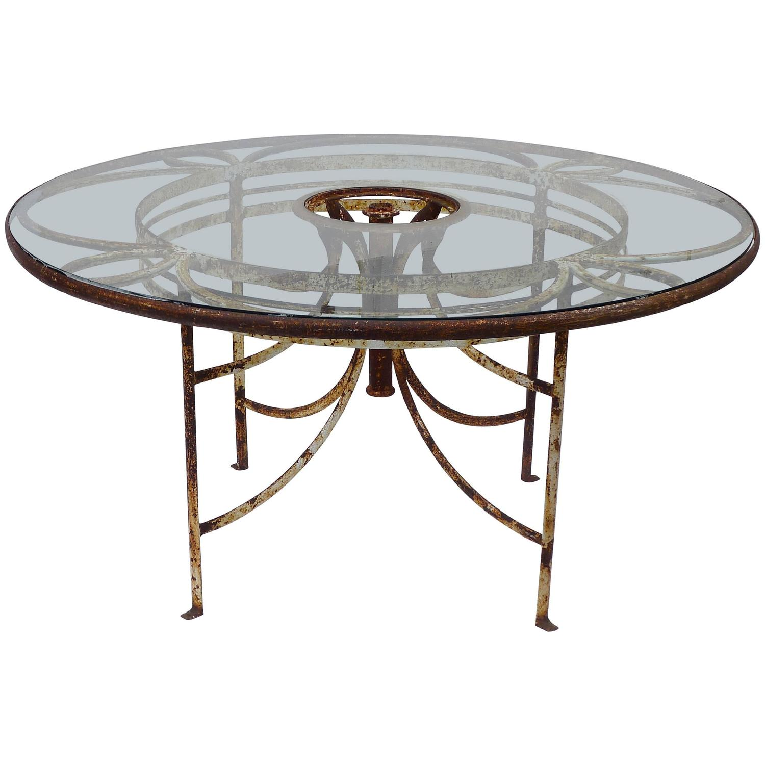 1930s French Iron And Glass Outdoor Garden Dining Table 57 Round For Sale At 1stdibs