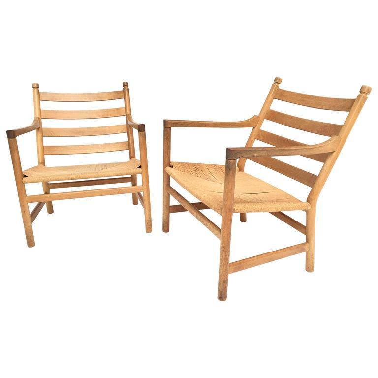 Pair Of CH44 Hans Wegner Lounge Chairs Carl Hansen U0026 Son Denmark For Sale