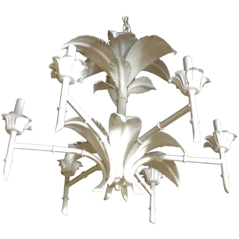 Modern Tropical Chandelier: Palm Tree Frond Leaf Leaves Metal Faux Bamboo Chandelier
