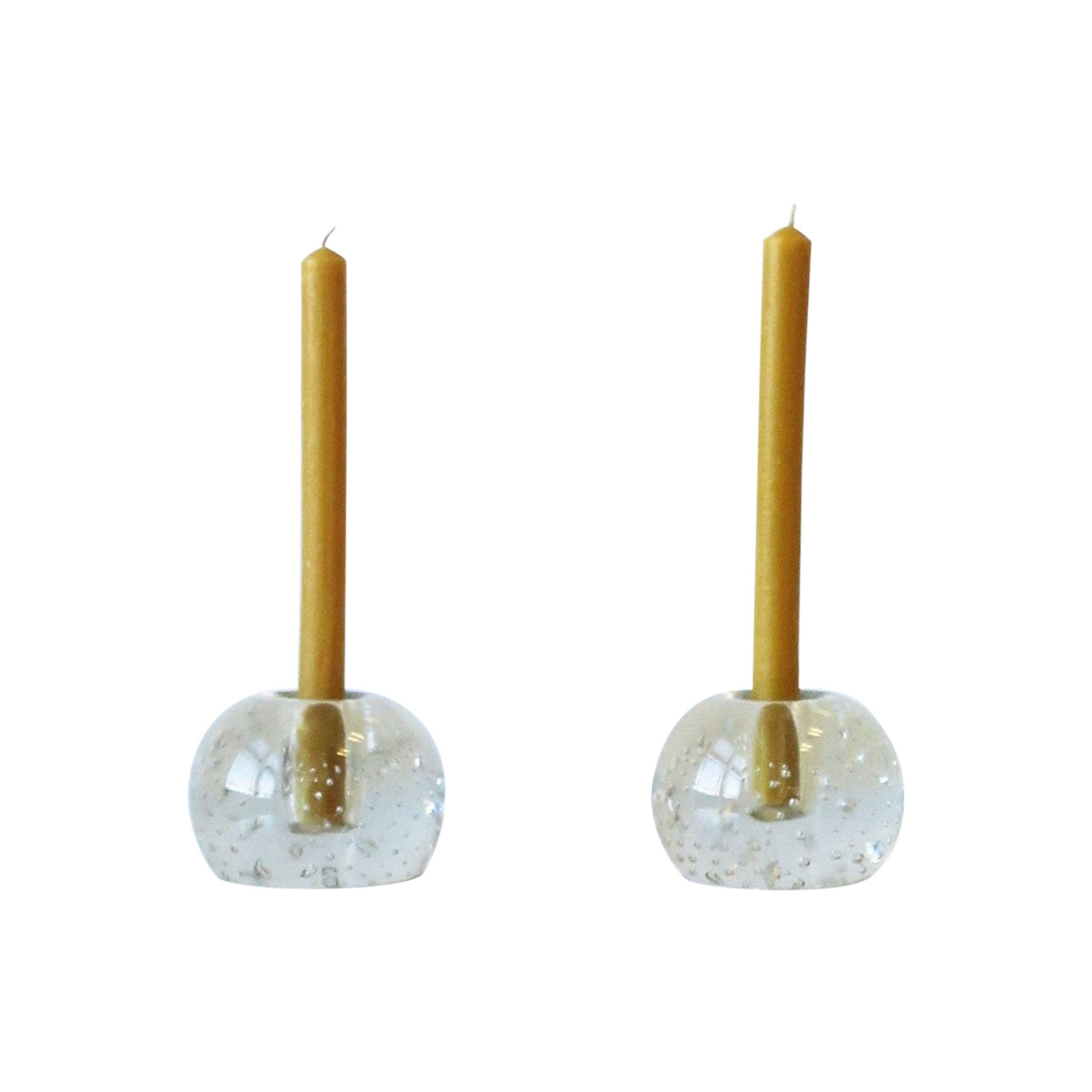 Scandinavian Modern Art Glass Candlestick Holders, Pair