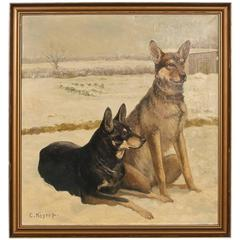 Large Original Oil on Canvas of 2 German Shepherds, signed C. Hoyrup, circa 1910