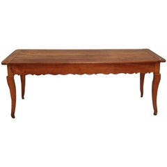 Country French Fruitwood Farm Table with Drawer & Cutting Board, 19th Century