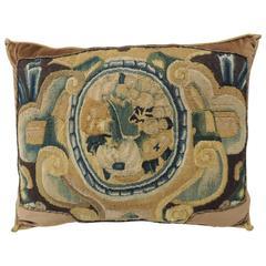 18th Century Verdure Tapestry Decorative Pillow with Antique Trim