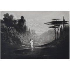 John Martin, Eve At The Fountain, Mezzotint, 1827