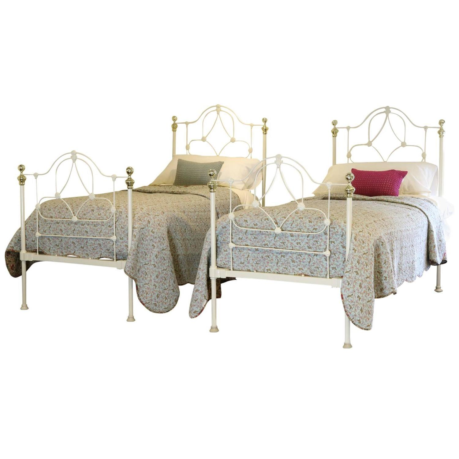 Victorian Cast Iron Beds : Pair of cream cast iron victorian beds at stdibs