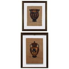 Two Italian Paintings on Paper of Greek Vessels, 20th Century
