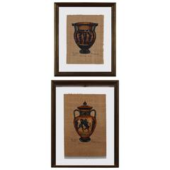 Two Italian Paintings on Paper of Greek Vessels, 20th Century