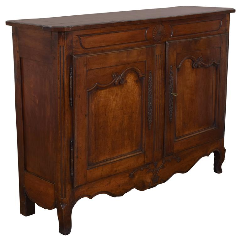 French, Provincial Carved & Paneled Cherrywood Buffet, Last Quarter 18th Century