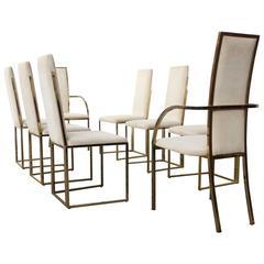 Set of Eight Romeo Rega Brass Dining Chairs, Italy, 1970s