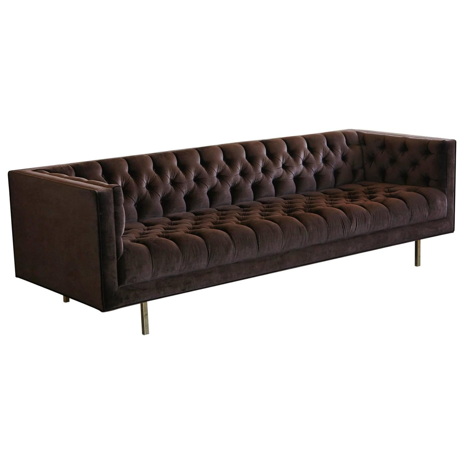 Modern Deeply Button Tufted Velvet Tuxedo Sofa in Chocolate Brown