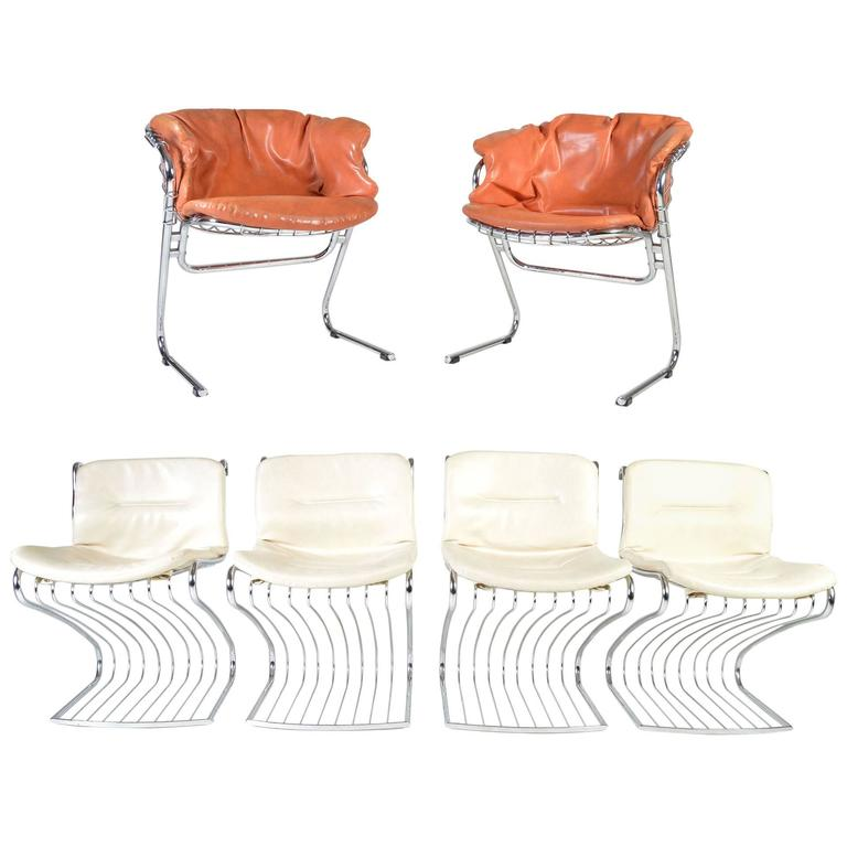 Midcentury Chrome Dining Chair Set By Gastone Rinaldi For