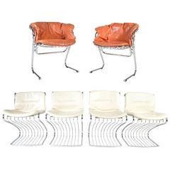 Midcentury Chrome Dining Chair Set by Gastone Rinaldi for Rima of Italy