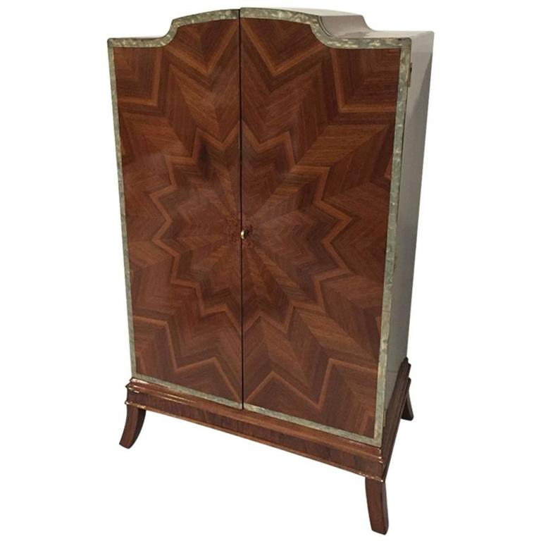 french art deco sunburst armoire for sale at 1stdibs. Black Bedroom Furniture Sets. Home Design Ideas