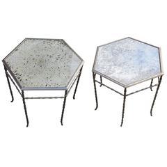 1970' Pair of Hexagonal Pedestal Model Bamboo Maison Bagués Silvered Bronze