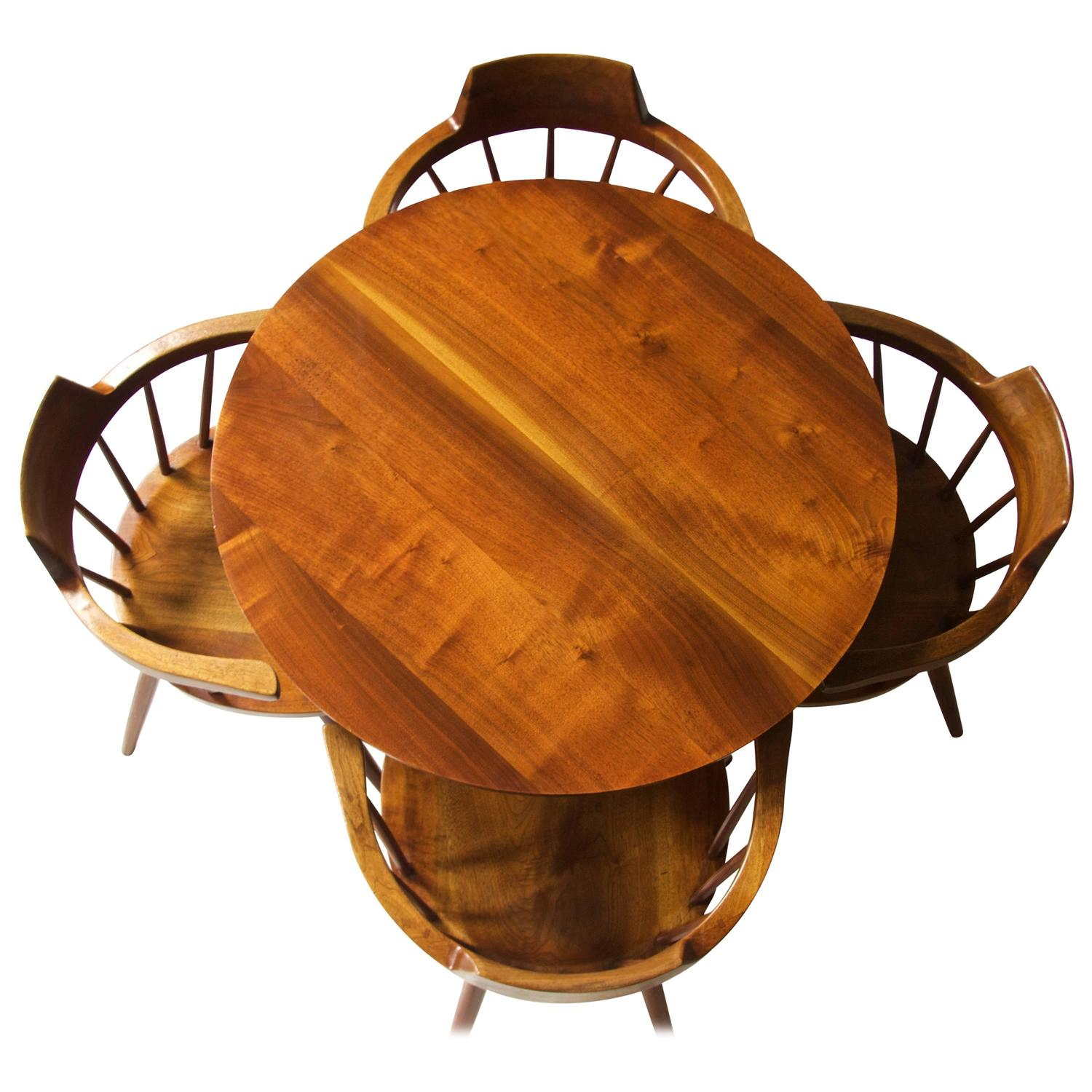 Rare George Nakashima Walnut Dining Set with Four Captain s Chairs