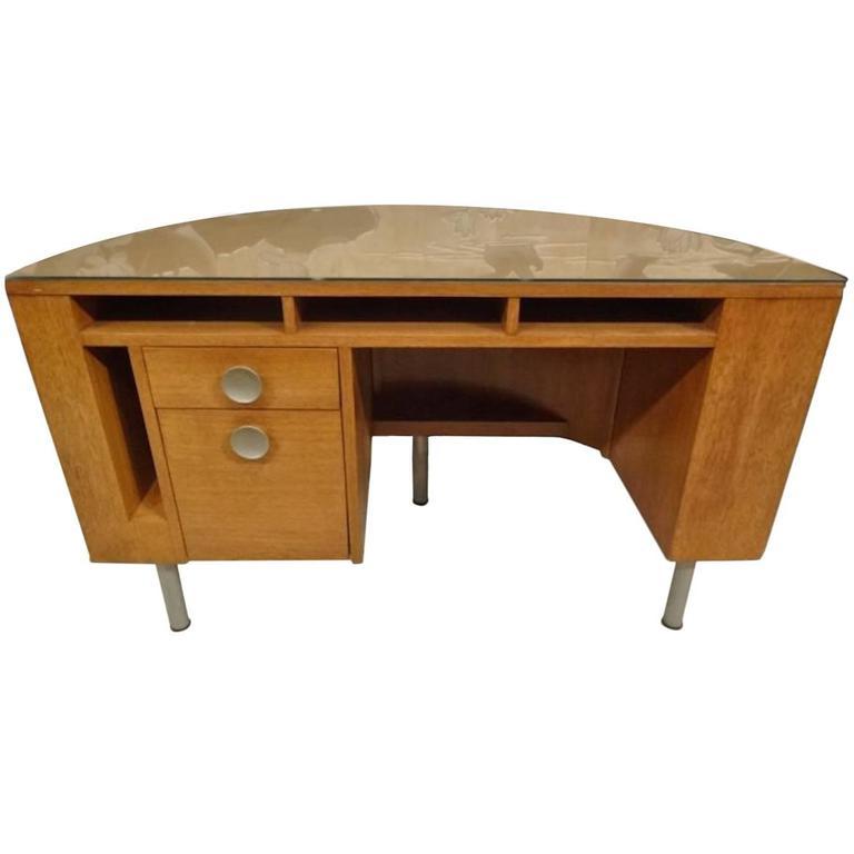 Gilbert Rohde Demilune Desk For Herman Miller American Art