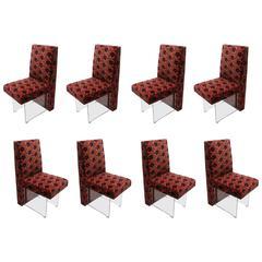 Eight Dining Chairs by Vladimir Kagan with Original Jack Lenor Larsen Fabric