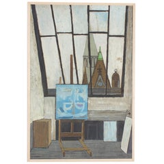 Midcentury Oil Painting on Board of a Parisian Art Studio