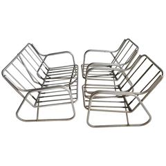 Art Deco or Machine Age Three-Piece Aluminum Outdoor Patio Set, Chairs, Loveseat