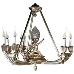 Fine Antique French Art Deco Style Silvered Bronze Figural Chandelier