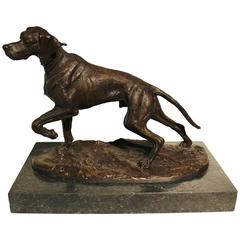 Paul Edouard Delabrierre Hunting Dog French Bronze Sculpture