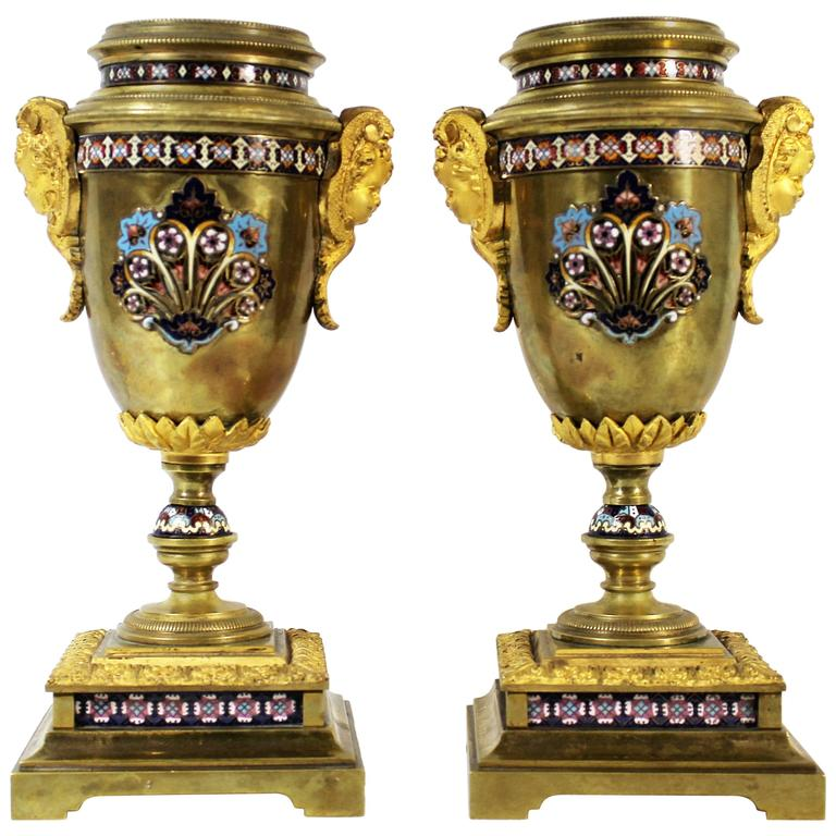 Pair of 19th Century French Gilt Bronze and Champleve Enamel Urns