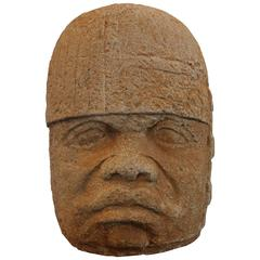 Cement Sculpture of an Olmec Head