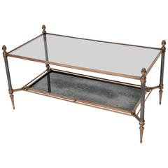 Jansen Neoclassic Style Coffee Table with Aged Mirrored Lower Shelf