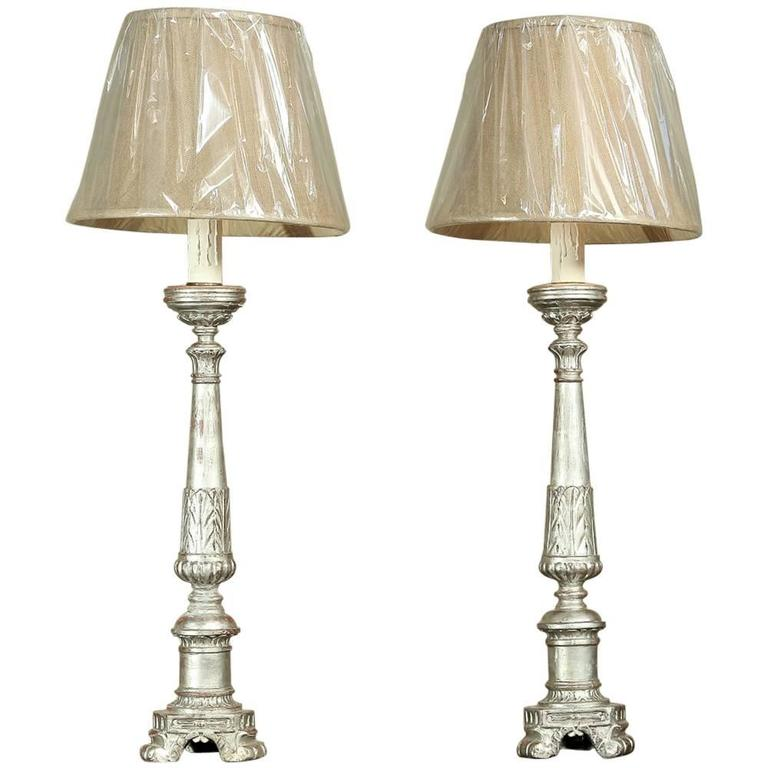 Pair Antique 19th Century Italian Silver Leaf Altar Candlestick Table Lamps