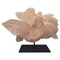 Large Rock Crystal Quartz Specimen on a Custom Mount