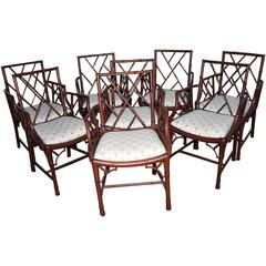 Chinese Chippendale Set of Eight Faux Bamboo Dining Arm Chairs Chinoiserie